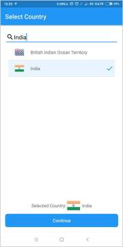 Setup screen to select your country