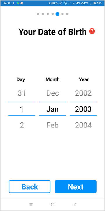 Setup screen to enter your date of birth