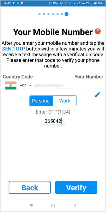 Verify your phone number with OTP