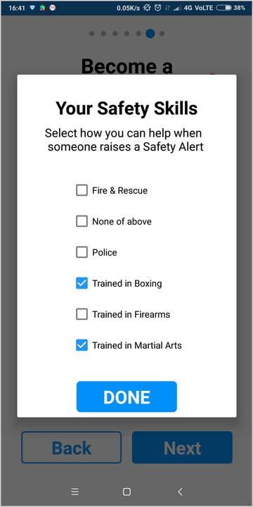 Setup screen to select your safety skills
