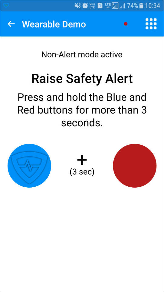 Raising a Safety Alert in demo mode